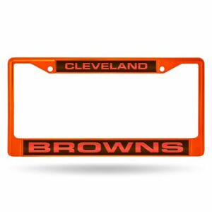 Cleveland Browns Orange Painted Metal Laser Cut License Plate Frame