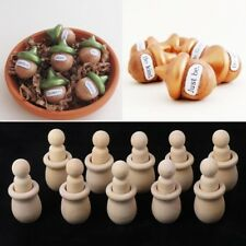 Acorn Set Shape Wooden Peg Dolls Unfinished Paint Stain DIY Decor Crafts 10Pcs