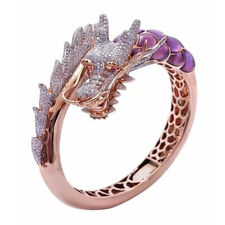 Fashion Dragon Women Rings 14k Rose Gold Plated White Sapphire Ring Size 5-11