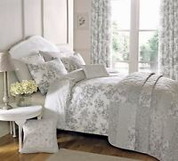 FLORAL TOILE PATCHWORK GREY SINGLE COTTON BLEND REVERSIBLE DUVET COVER SET