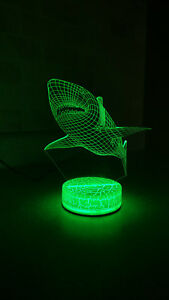 Shark 3D illusion 7 Color LED Light Night Change Table Desk Lamp