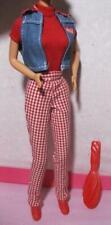NEW Barbie Doll Coca Cola Coke Picnic Outfit Clothes Red Check Pants Denim Vest