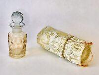 ⭐️Vintage Lead Crystal Perfume Bottle AMBER Faceted Cut Crystal Dauber Top w/Bag