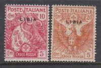 Italy Libia - Sassone n. 13+16 Red Cross Variety thin overprint cv 260$ MNH**