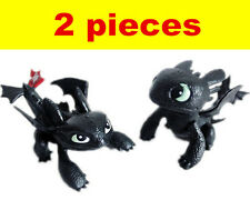 2Pcs How to Train Your Dragon 2 Toys Toothless Night Fury Action Figure Playset