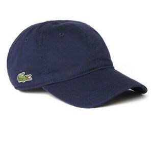 Lacoste Side Croc Back Tone Cotton Cap Baseball Hat Solid Navy Blue New