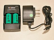 2 Ultrafire CR123A battery w/ Soshine Charger CR2/RCR123A  3V + 12v Car Adaptor