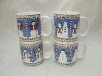 Sakura SNOWMAN Debbie Mumm Set of 4 Coffee Cocoa Tea Mugs Christmas Each Is Diff