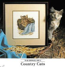 "Cross Stitch Pattern ""Benjamin (Country Cat)""; Fingertip Towels (6)"