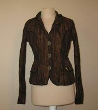 ALBERTO MAKALI womens Sm brown crinkle lined 3 button jacket black trimmed FAB!