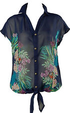 New navy blue vivid floral print sheer cover up top plus size 12-24