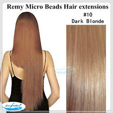 "26"" India Remy Micro Beads Hair extensions  100Pcs #10 Dark Blonde DOUBLE DRAWN"