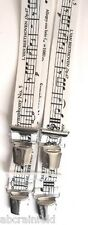 Hosenträger mit Musiknoten, weiß,120cm lang, 35mm breit, 4er Clip/extra stark,