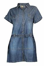 Blue Denim Military Style Urban Safari Shirt Dress Size 12 14 16 18 20 22 24 24