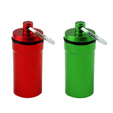 2pcs Mini Waterproof Pill Box Holder Containers Capsule Bottles Keychain Fob