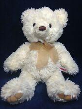 "Aurora Teddy Bear Plush Cream Handmade Indonesia Stuffed Animal 12"" Bean Bottom"