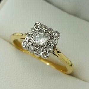 18ct Yellow Gold & Platinum Diamond Set Deco Ring, Finger Size Q