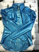 R1182 Rubber Latex Blouse Shirt 14 UK PS BLUE Westward Bound SECONDS RRP £159.85