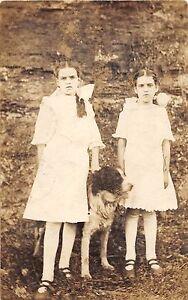 A77/ Animal Real Photo RPPC Postcard c1910 Pet Dog Girls Dresses 28