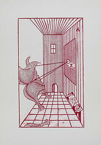MAX ERNST - Composicion surrealista. 33 x 23 cm