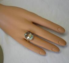 10Ct Aquamarine Ring 14K Gold Retro Cocktail Engagement Ring Gorgeous Monumental