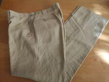 M&S Para Hombre Luz Camello 100% Lino pantalones plano frontales inteligente W36 L33 regular fit
