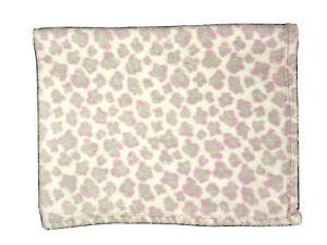 BABY GEAR Purple Gray LEOPARD Cheetah Print Fleece Blanket Lovey Girl 30x40
