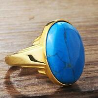 14K Solid Gold With Natural Real Turquoise Gemstone Vintage Mens Ring All Size