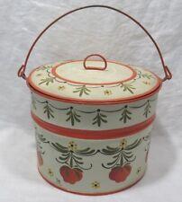 Vintage Primitive Folk Art TOLE Painted Metal Berry Bucket w/Lid~Bale Handle