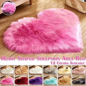 Love Heart Fluffy Rugs Shaggy Area Rug Soft Fur Bedroom Floor Carpet Hairy Mats
