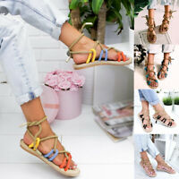 Women Weaving Sandals Hemp Rope Toe Beach Slippers Casuals Cross Tied Shoes Size