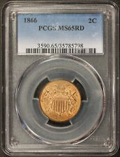 1866 U.S. Two 2 Cents Coin - PCGS MS 65 RD
