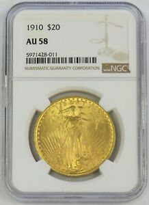 1910 GOLD $20 SAINT GAUDENS DOUBLE EAGLE COIN NGC AU 58