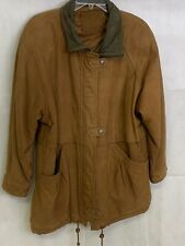 Mixed Blues Brown Leather Quilted Lining Barn Work Coat Lg. 319
