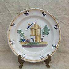 Belle assiette faïence Nevers (?) 19° XIXe Élégant décor oiseaux en cage BE