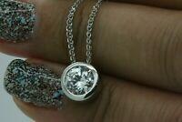 0.50 Ct Round Cut Diamond Solitaire Pendant Necklace Bezel Set 14K White Gold Fn