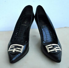 FENDI Black Croc-embossed Leather Shoes Heels Sz 39 Made in Italy Authentic Rare