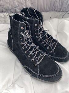 """Diesel """"Whoop"""" Black Soft Suede Hi Top Boots Shoes Mens Sz UK 8"""