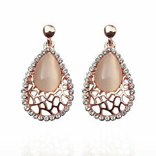 Narlino Rose gold opal swarovski crystal hanging earrings