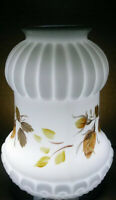 Vintage Lamp Shade White Milk Glass Roses Light Globe Frosted Brown Orange