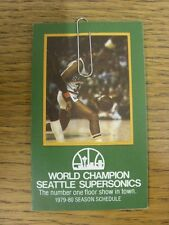 1979/1980 Fixture Card: Basketball - Seattle Supersonics (fold out style). Any f