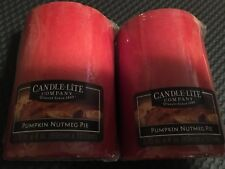 """Lot of Two (2) Candle Lite Company Pumpkin Nutmeg Pie Candles - 2.75""""x4"""" Each"""