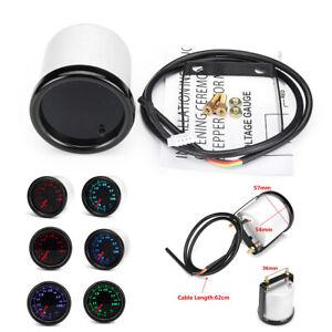 """2"""" 52MM LED VOLT VOLTAGE METER GAUGE VOLTMETER Auto CAR 7 Color LED Display 12V"""