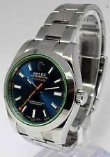 Rolex Milgauss Steel Blue Dial Green Crystal Watch 2014 Box/Papers 116400GV