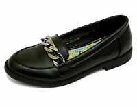 GIRLS KIDS CHILDRENS SLIP-ON BLACK SCHOOL PUMPS SMART FLAT LOAFERS SHOES UK 13-5
