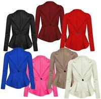 Ladies Womens Tailored Button Up Long Sleeves Peplum Ruffle Frill Jacket Blazer
