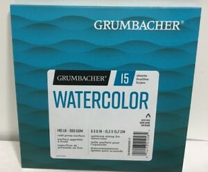 Grumbacher Watercolor Paper Pad 6 x 6 inches 15 White Cold Press Sheets new