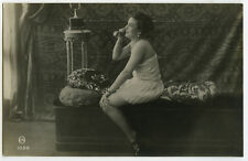 c 1920 French Risque n/ Nude LINGERIE Lady ON TELEPHONE photo postcard