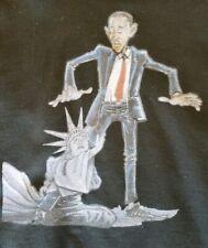 Barack Obama & Statue Of Liberty Cartoon Hoodie Sweatshirt Pullover Large