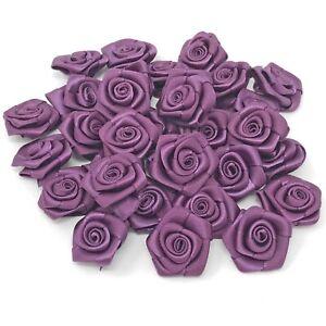 Plum Ribbon Roses Craft Scrapbooking Shabby Chic 25mm Craft Flower